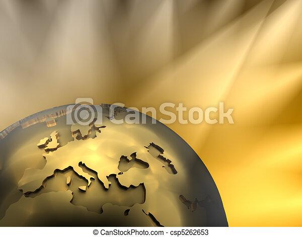 Gold Globe Close-up, Europe - csp5262653