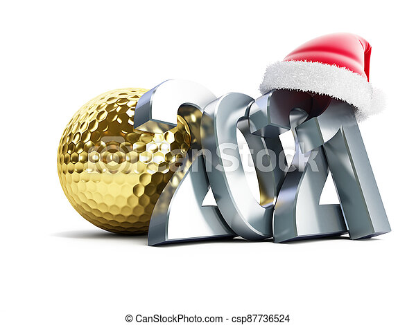 Gold golf ball 2021 new year santa hat on a white background 3D illustration, 3D rendering - csp87736524
