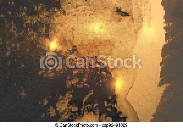 Gold, gray and blue abstract marble background with sparkles - csp92491029