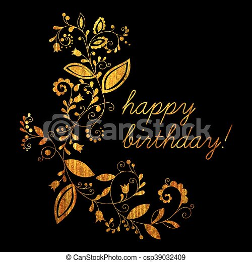 Gold Greeting Happy Birthday Card With Floral Element In Doodle Style On Black Background Hand Drawn Flourish Border Or Frame For Banner Calendar