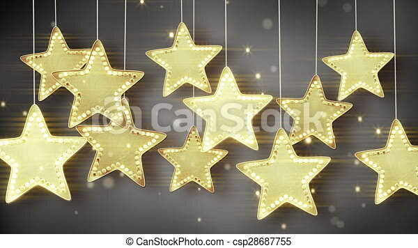 gold hanging stars christmas lights loop gold hanging stars christmas lights computer generated seamless loop abstract motion background