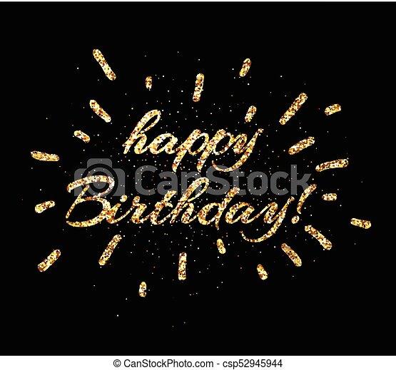 Gold Happy Birthday Card On Black Golden Shiny Happy Birthday Print