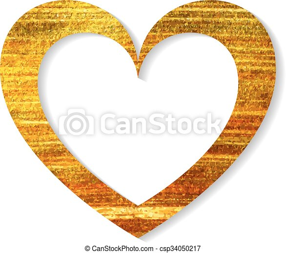 Gold Heart Frame On A White Background