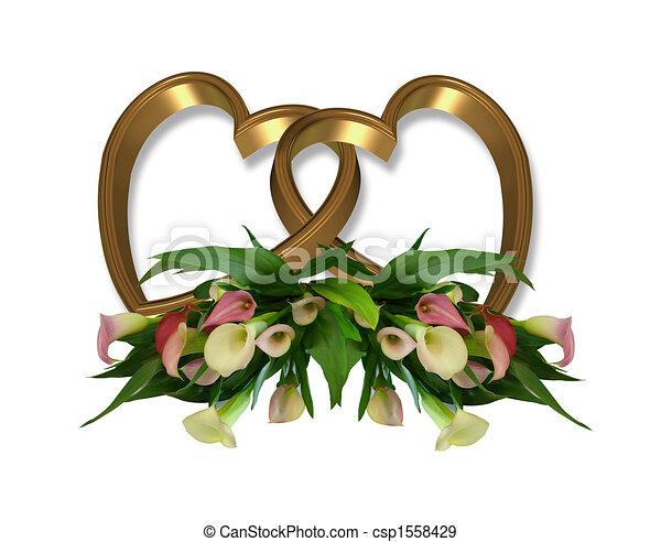 Gold Hearts And Calla Lilies  - csp1558429