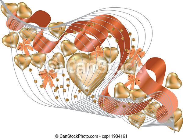 gold hearts - csp11934161