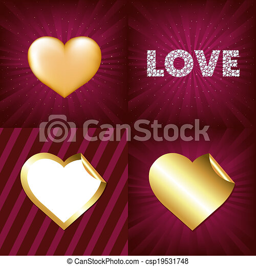 Gold Hearts - csp19531748