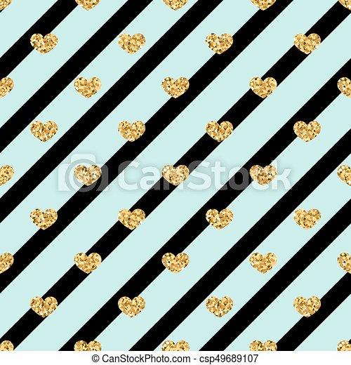 Gold and Black Hearts Glitter Confetti