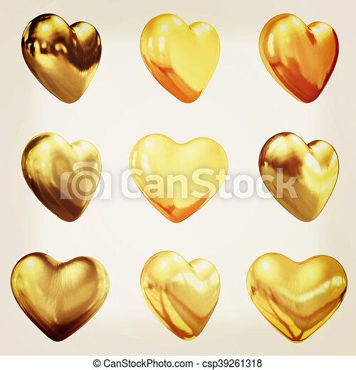 Gold hearts set for wedding design . 3D illustration. Vintage style. - csp39261318