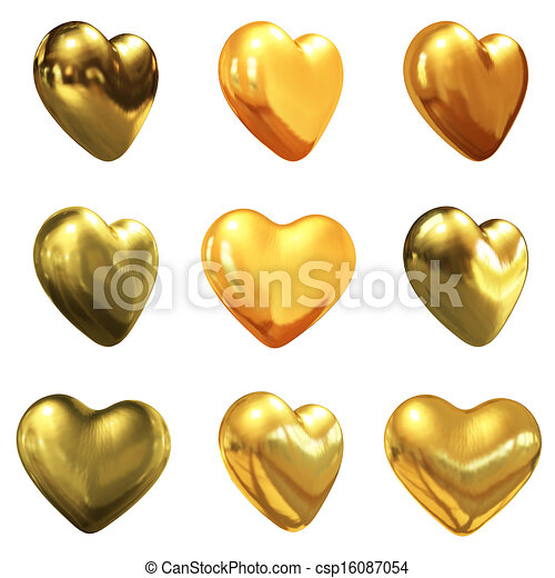 Gold hearts set for wedding design  - csp16087054