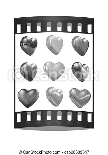 Gold hearts set for wedding design. The film strip  - csp28503547
