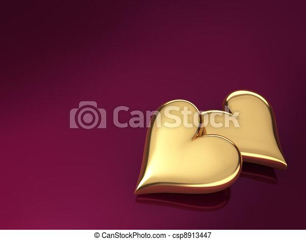 Gold Hearts - csp8913447