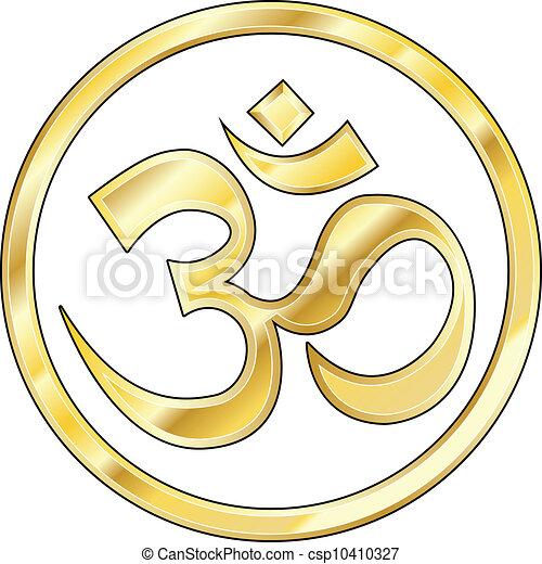 Gold Hindu Om vector - csp10410327