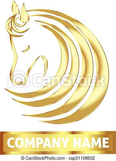 Gold horse logo - csp31108632
