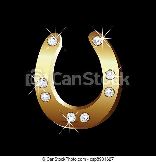 Gold horseshoe icon vector - csp8901627