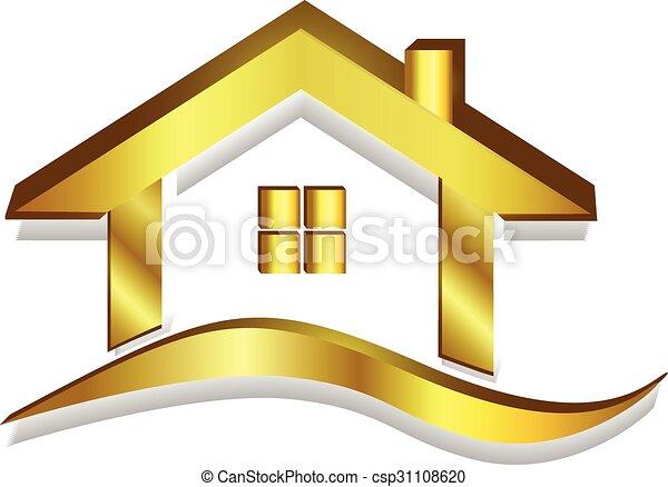 Gold house logo 3D vector - csp31108620