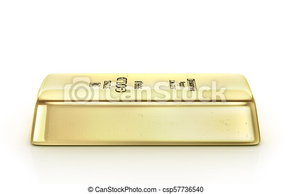 Gold ingot isolated on a white. 3d illustration - csp57736540