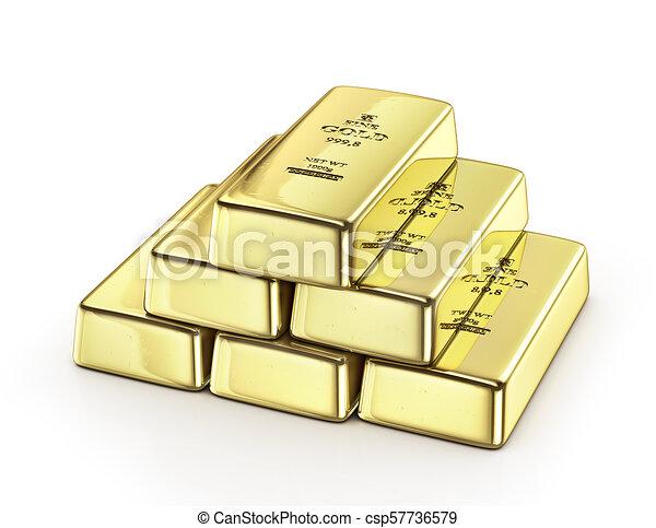 Gold ingot isolated on a white. 3d illustration - csp57736579