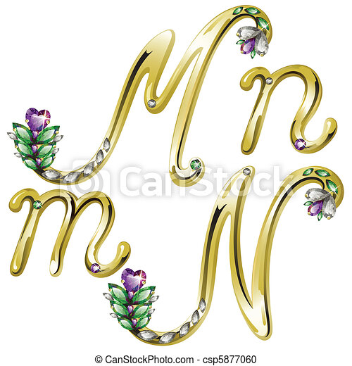 Gold jewelry alphabet letters m n Vector volume shiny gold