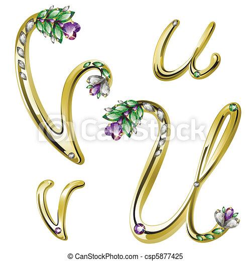 Gold jewelry alphabet letters U,V - csp5877425