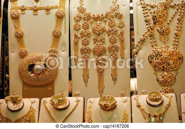 Gold jewelry for sale in the market deira dubai united stock