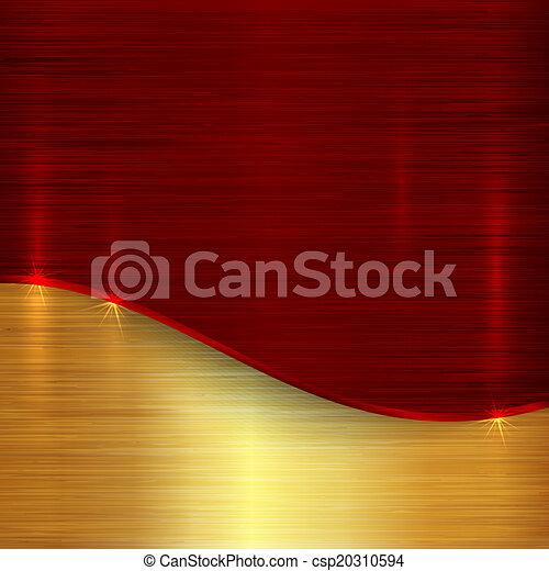 gold, kirschen, abstrakt, metallisch, vektor, hintergrund, rotes  - csp20310594