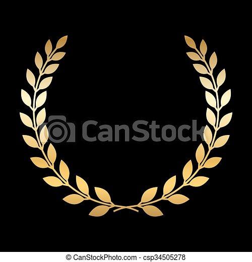 Gold laurel wreath - csp34505278
