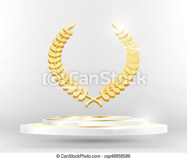 Gold Laurel Wreath on Podium. - csp48858586