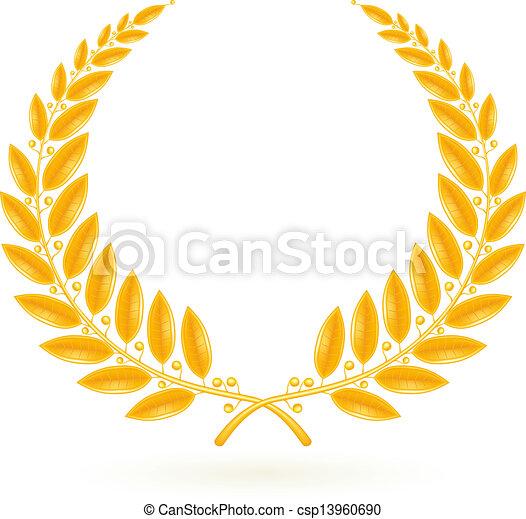 Gold Laurel Wreath, vector - csp13960690