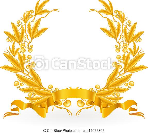 Gold Laurel Wreath, vector - csp14058305