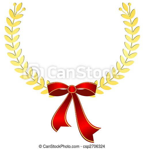 Gold laurel wreath with red ribbon (vector) - csp2706324