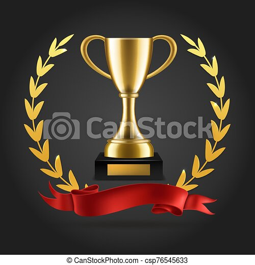Gold laurels and trophy. Realistic winner 3d award emblem with ribbon and cup isolated vector background - csp76545633