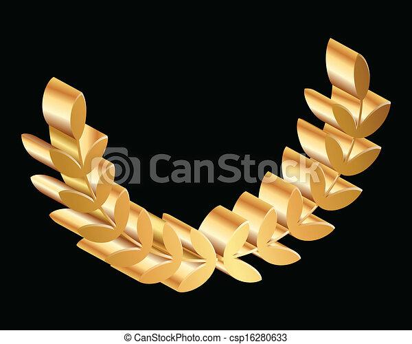 gold laurels on black background - csp16280633