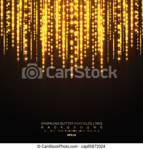 Gold lights shiny vertical line glitters holiday festival on dark background. Golden christmas confetti shining lights pattern. Magic rain of sparkling glitter particles lines - csp65873324