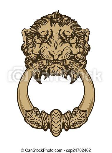 Gold lion head door knocker. hand drawn vector illustration clip art ...