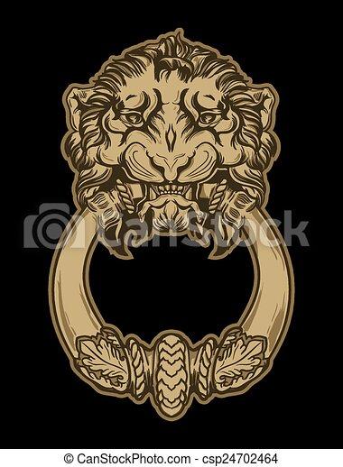 Gold lion head door knocker on black background. Hand drawn vect - csp24702464