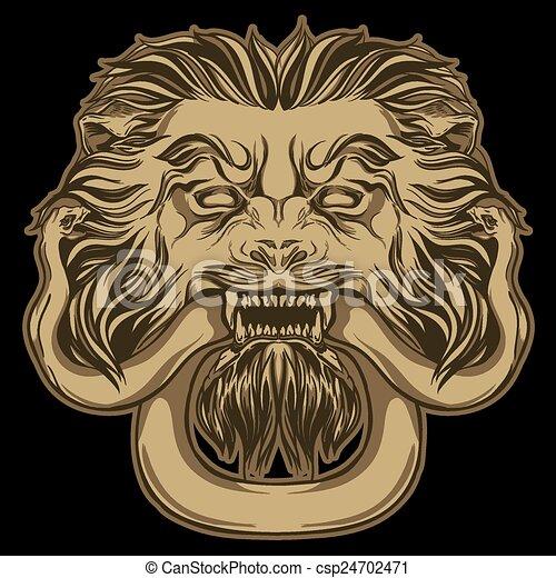 Gold lion holding a snake on black. Door knocker. Hand drawn vec - csp24702471