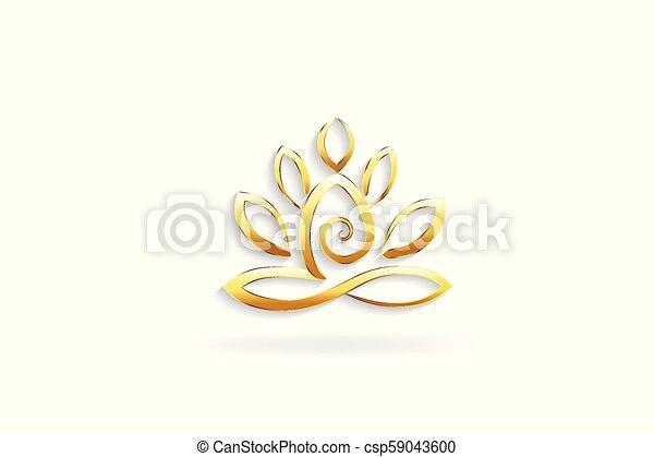 Gold Lotus Flower Yoga Man Logo Symbol Lotus Flower Gold Yoga Man