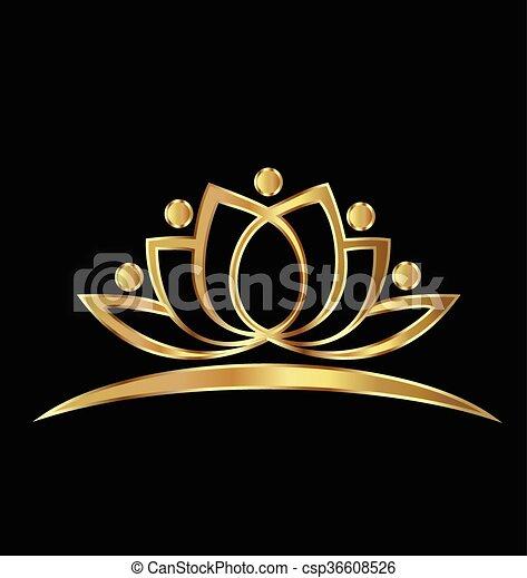 Gold lotus yoga people logo - csp36608526