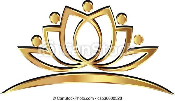 Gold lotus yoga people logo - csp36608528
