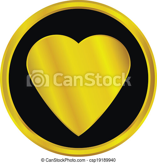 Gold love sign button - csp19189940