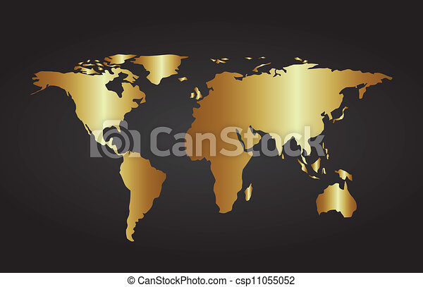Gold Map Over Black Background Vector Illustration - Black and gold world map