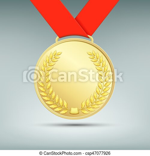 Gold medal with red ribbon. - csp47077926