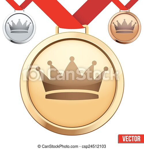 Gold Medal With The Symbol Of A Crown Inside Three Medals With The