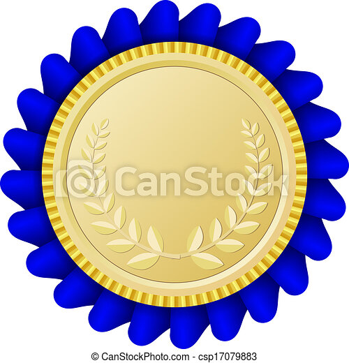 Gold medallion with blue ribbon - csp17079883