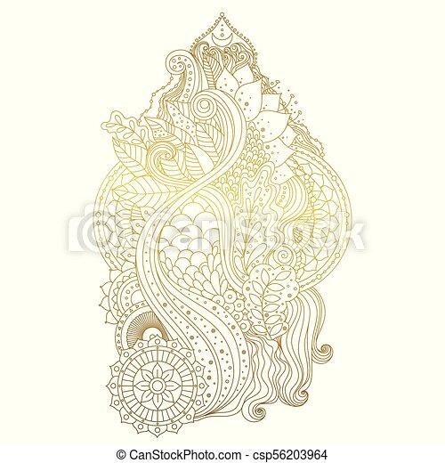 Gold Mehendi Ornament Golden Mehndi Hand Drawn Ornament With Lotus