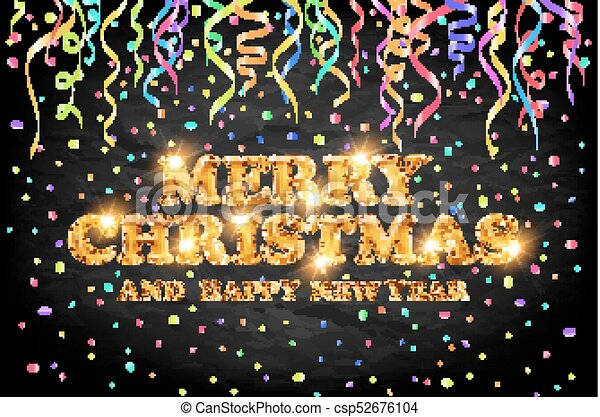 gold Merry Christmas and Happy New Year black background with decoration on color light confetti. Vector illustration. Xmas card. - csp52676104