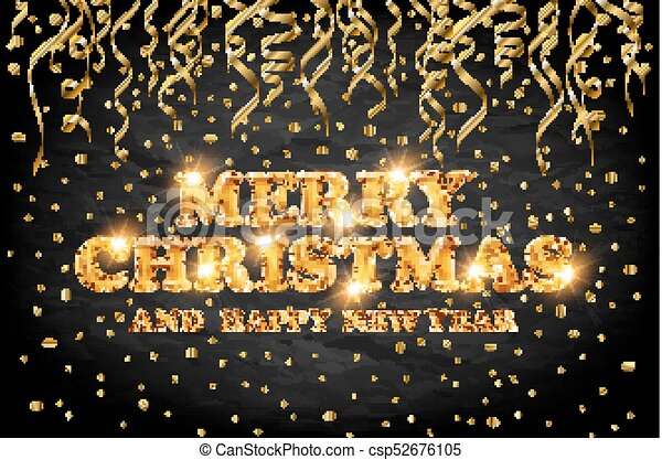 gold Merry Christmas and Happy New Year black background with decoration on golden light confetti. Vector illustration. Xmas card. - csp52676105