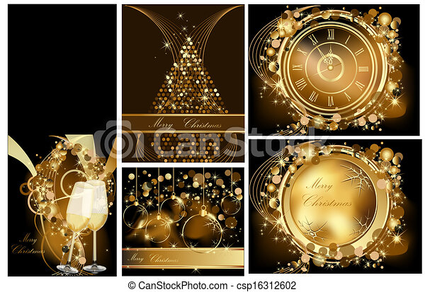 Gold Merry Christmas background - csp16312602