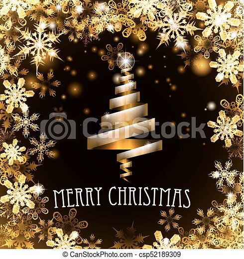 Gold Merry Christmas Tree Snowflakes Background - csp52189309