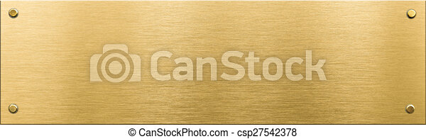 gold metal plaque or nameboard with rivets  - csp27542378